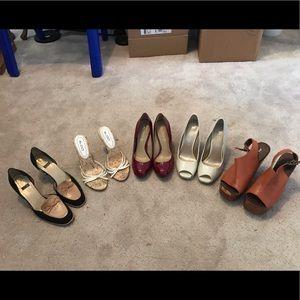 5 pair bundle of various heels, all size 7